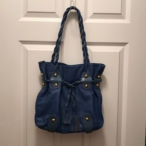 Two-tone leather handbag with matching wallet